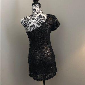 Dresses - Black & Gold mini dress